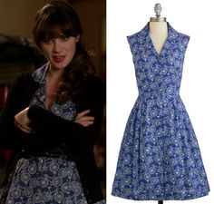 Jess Day (Zooey Deschanel) wore this blue bicycle print dress in New Girl episode Swuits Red Short Sleeve Dress, Dresses With Sleeves, Fashion Tv, Girl Fashion, Fashion Styles, Zooey Deschanel Style, Zoey Deschanel, New Girl Outfits, New Girl Style