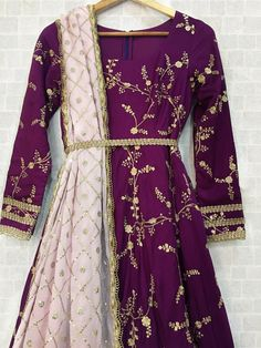Deep Purple Twisted Threads Anarkali - Deep Purple Twisted Threads Anarkali Price: INR Fabric Details Pure dupion silk, crepe chiffon Wear this gorgeous Anarkali with tassels to a wedding party, or even to your own mehendi functi… Pakistani Fashion Party Wear, Pakistani Dresses Casual, Indian Gowns Dresses, Pakistani Bridal Dresses, Indian Fashion Dresses, Pakistani Dress Design, Bridal Anarkali Suits, Indian Outfits, Dress Fashion