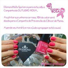 Diamond Nails Spa lança para este mês a Campanha do OUTUBRO ROSA.  Ao pintar sua unha na cor rosa, 10% do valor será doado para a Prevenção do Câncer de Mama.  Agende seu horário e nos ajude a propagar está causa! #diamondnailsspa #spa #naildiamond #unhabonita #outubro #outubrorosa #prevencao #prevencaocancerdemama