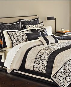 Martha Stewart Collection Bedding, Manuscript 9 Piece Full Comforter Set - Bed in a Bag - Bed & Bath - Macy's
