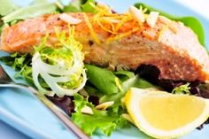 Seared Salmon With Hemp Seeds, Radish Sprout and Watercress Salad