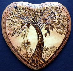 TREE OF LIFE Wood Burning Carving Painting  - by LUIZA VIZOLI from Woodwork Art Gallery