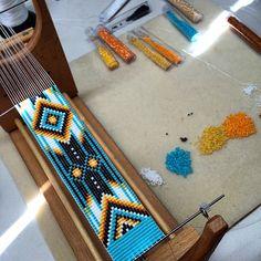 Ranchero Bead Loom Bracelet Artisanal Jewelry Native Motif Western Beaded Gypsy Boho Bohemian Native American - Updates from PuebloAndCo on Etsy - Bead Loom Patterns, Jewelry Patterns, Bracelet Patterns, Beading Patterns, Indian Beadwork, Native American Beadwork, Loom Bands, Diy Jewelry, Beaded Jewelry