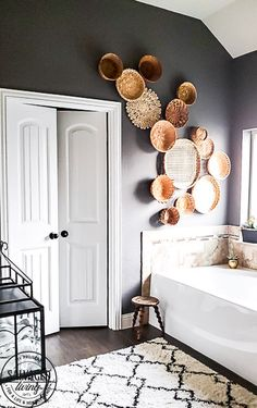 everything you need to know about creating basket gallery wall art. Where to find vintage baskets, how to hang baskets and how to layout a basket gallery wall are all here in this gorgeous gallery wall trend idea. Baskets On Wall, Decor, Basket Wall Art, Diy Wall Decor, Basket Wall Decor, Wall Decor, Gallery Wall Trend, Wall Trends, Apartment Decor