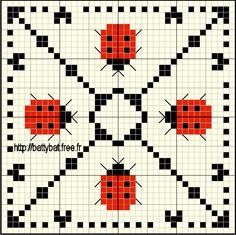Biscornu Ladybug Cross stitch ... no color chart available, just use the pattern chart as your color guide.. or choose your own colors...