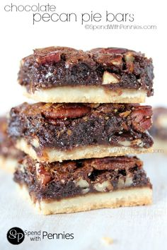 Chocolate Pecan Pie Bars are one of our favorite treats!  A shortbread crust topped with gooey pecan filling, these squares are rich & chocolatey !