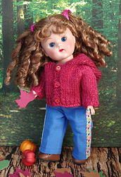 "Pomegranite Hoodie and Jeans Set...a sweet handknitted hoodie sweater and jeans set for your Vogue Ginny, Muffie, Ginger, or Madame Alexander 7.5"" dolls. Available NOW! on my website for instant purchase. www.karmelapples.com Click the picture to take you there.SOLD!"