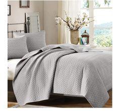 Basketweave Solid Gray Modern Quilt Set - find modern bedding at Sky Iris