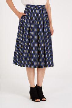Louche Terena Long Line Print Midi Skirt