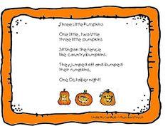A Teacher's Touch: Three Little Pumpkins Song Freebie