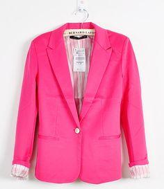 New Fashion Candy Color Basic Slim Foldable Suit Jacket Blazer XS s M L | eBay