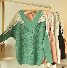 Adorable sweaters with lace detailing