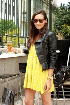 yellow dress + leath