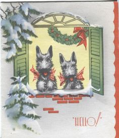 Vintage Christmas Card - Scotties Looking out the Window