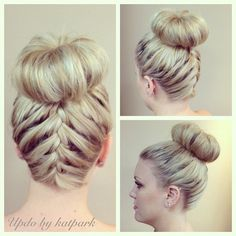 High bun with french braid. I MUST learn how this is done