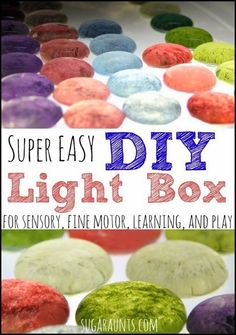 DIY Easy Light Box tutorial. Use a light box for sensory, fine motor play with learning.  We love using ours for math activities!