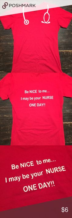 💉nursing tshirt 💉 Nursing tshirt. In good used condition. I only wore this a handful of times however part of the stethoscope is starting to peel which is shown in the last photo. No holes or stains. Thanks for looking 💉 Tops Tees - Short Sleeve