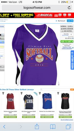 Softball jersey design with mascot name and ball; change to your ...