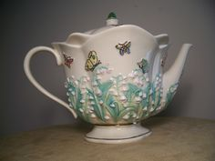 Lenox Parvaneh Halloway Lily of The Valley Teapot w Embossed Lilies Butterflies | eBay