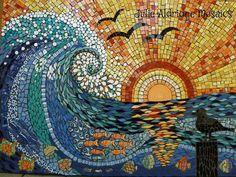 cuadro de mosaico - mar y atardecer