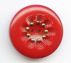 Vintage Red Casein Button Scalloped Sew-Thru Well Studded with Brass Pins