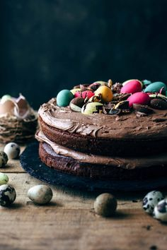 This Chocolate Easter Eggs Cake with Chocolate Marshmallow Frosting is the perfect way to celebrate Easter. Soft and moist chocolate cake stuffed with chocolate Easter eggs and frosted with a 4-ingredient chocolate marshmallow frosting. Ready for death-by-chocolate?