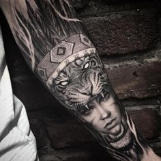 Tiger headdress tattoo