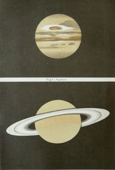 1897 Antique fine cromolithograph of SATURN and JUPITER. 115 years old nice print.. $19.50, via Etsy.