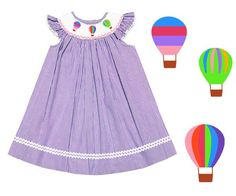 Lavendar Seersucker Smocked Hot Air Balloon Dress
