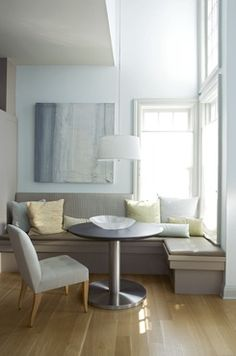 Simple Construction Kitchen banquette. One side is under a window. But no storage