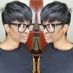 Love this choppy, razor cut pixie by ✂️ Fly glasses 👓 Short Sassy Hair, Short Hair Cuts, Short Hair Styles, Natural Hair Styles, Pixie Cuts, Short Black Hairstyles, Straight Hairstyles, Delaware, Afro