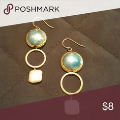 Drop earrings with pearl beads Drop earrings with blue and pearl beads. No defects. Jewelry Earrings