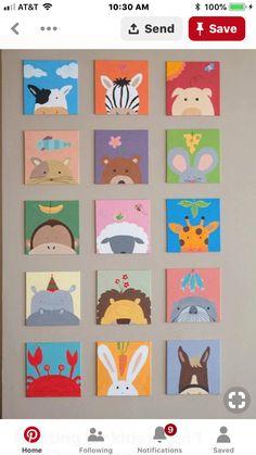Painting for kids room 1 set painting) for baby shower - kinderzimmer Painting For Kids, Art For Kids, Crafts For Kids, Painting For Baby Room, Paintings For Kids Room, Painting Shower, Nursery Paintings, Kids Room Art, Kids Diy