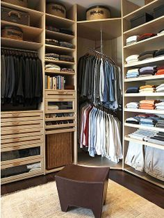 Get Creative With Shelves Bottom right of photo:  Cleaver idea for hanging pants.