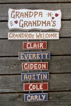 Grandpa Grandma Grandchildren  Carved Wood Name by signcarver, $24.00