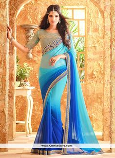 Artistic Faux Georgette Blue Shaded Saree