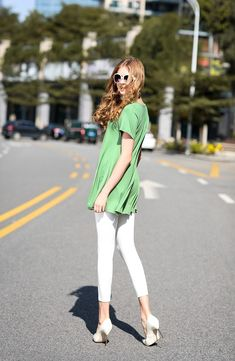 696a6a89796 larace springgreen flowy shirt for leggings Short Sleeve Tunic Tops