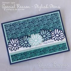handmade birthday card using Stampin Up Special Reason - Stylish Stems stamp & die bundle & Floral Boutique paper with ombre brayering. Card by Di Barnes #colourmehappy 2017 Occasions Catalogue