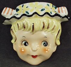 Old Wall Pocket Head Vase - Little Girl with Flowered Hat