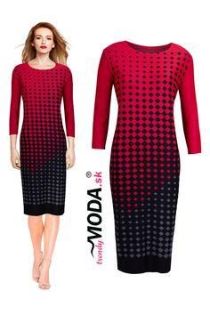 Elegantné červeno-čierne úpletové šaty pre moletky s rafinovaným kockovaným vzorom. Trendy, Dresses For Work, Fashion, Moda, Fashion Styles, Fashion Illustrations