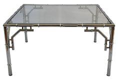 Chrome Bamboo-Style Coffee Table on OneKingsLane.com