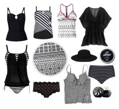 """Black and White Beach Days"" by beavercity on Polyvore featuring Cactus, Phase Eight, prAna, The Beach People, White House Black Market, Marysia Swim and Eos"