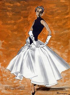 Illustration Pierre Mourgue. Jeanne Lanvin Castillo Evening Gown, 1955