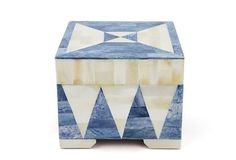 Diamond-patterned blue and ivoryinlaid bone box from One World