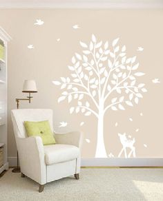 Nursery Tree Decal - Vinyl Wall Decals - nursery decals with Butterflies,TREE , birds & fawn. 125.00, via Etsy.