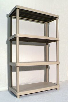 Features:  -4-Tier shelving unit each shelf supports up to 75 lbs.  -Quick clean up with soap and water.  -Suitable for indoor and outdoor use.  -100 % Recyclable and constructed from resin materials.