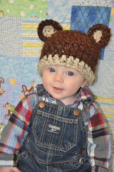 Animal hat crochet bear hat Christmas hat baby by LulasLuvables, $20.00