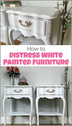 See how to distress furniture for that romantic distressed look on white painted furniture. These white painted tables get a distressed paint look makeover White Painted Furniture, Furniture Diy, Furniture Makeover Diy, Diy Furniture, Furniture, Distressed Furniture, Painted Furniture Colors, Repurposed Furniture, White Distressed Furniture