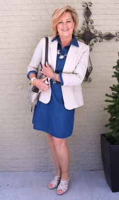 50 Is Not Old | Denim Dress All Dressed Up | Spring Outfit | Denim + Blazer | Fashion over 40 for the everyday woman