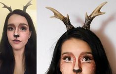 16 Deer Makeup And Antler Ideas For The Cutest Halloween Costume Deer Halloween Makeup, Deer Makeup, Cute Halloween Costumes, Halloween Kostüm, Makeup Trends, Animal Dress Up, Cute Diys, Costume Makeup, Antlers